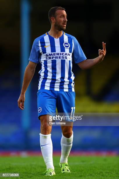 Glenn Murray of Brighton Hove Albion signals to his teammates during the preseason friendly match between Southend United and Brighton Hove Albion at...
