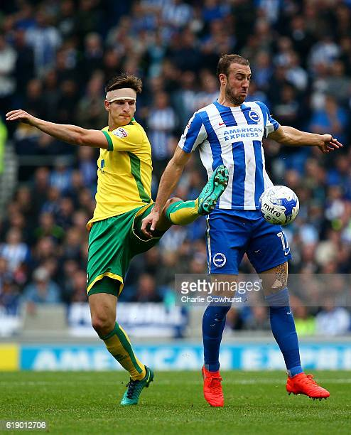 Glenn Murray of Brighton looks to hold off Timm Klose of Norwich during the Sky Bet Championship match between Brighton Hove Albion and Norwich City...