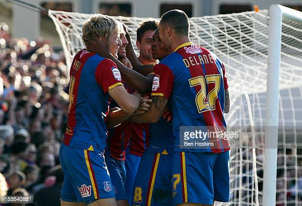 Glenn Murray of Crystal Palace celebrates after scoring his team's fourth goal of the game during the npower Championship match between Crystal...