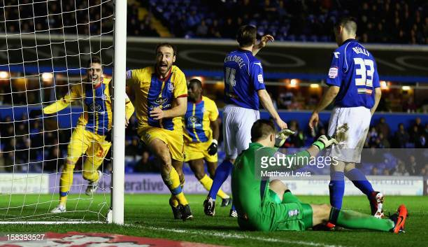 Glenn Murray of Crystal Palace celebrates scoring his second goal during the npower Championship match between Birmingham City and Crystal Palace at...