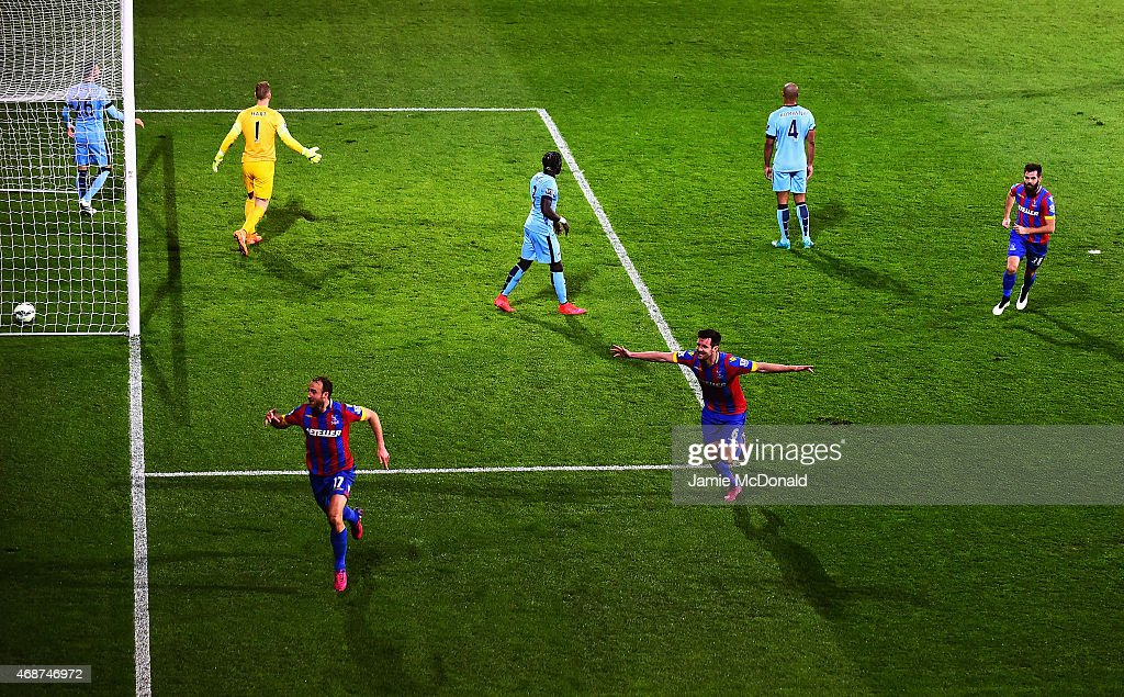 Glenn Murray of Crystal Palace celebrates scoring the opening goal during the Barclays Premier League match between Crystal Palace and Manchester City at Selhurst Park on April 6, 2015 in London, England.