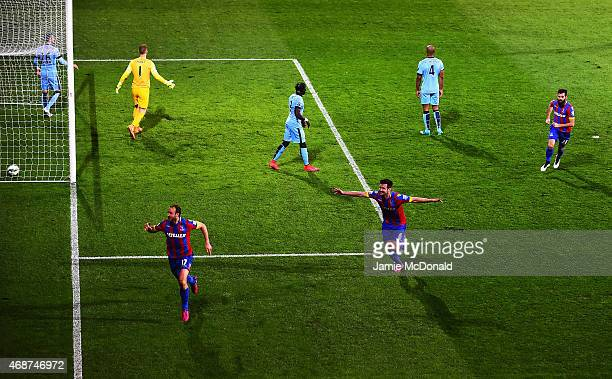 Glenn Murray of Crystal Palace celebrates scoring the opening goal during the Barclays Premier League match between Crystal Palace and Manchester...