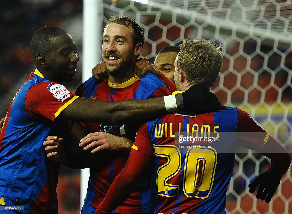 <a gi-track='captionPersonalityLinkClicked' href=/galleries/search?phrase=Glenn+Murray+-+Soccer+Player&family=editorial&specificpeople=15203667 ng-click='$event.stopPropagation()'>Glenn Murray</a> of Crystal Palace celebrates the equalising goal during the FA Cup with Budweiser Third Round replay match between Stoke City and Crystal Palace at Britannia Stadium on January 15, 2013 in Stoke on Trent, England.