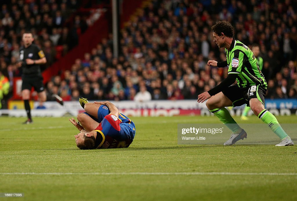<a gi-track='captionPersonalityLinkClicked' href=/galleries/search?phrase=Glenn+Murray+-+Soccer+Player&family=editorial&specificpeople=15203667 ng-click='$event.stopPropagation()'>Glenn Murray</a> of Crystal Palace is injured and stretchered off the pitch during the npower Championship play off semi final first leg at Selhurst Park on May 10, 2013 in London, England.