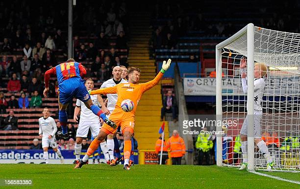Glenn Murray of Crystal Palace scores the first goal of the game during the npower Championship match between Crystal Palace and Derby County at...