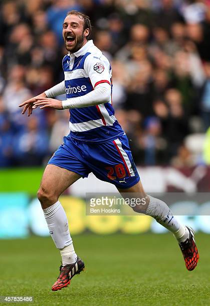 Glenn Murray of Reading celebrates after scoring the opening goal of the game during the Sky Bet Championship match between Reading and Blackpool at...