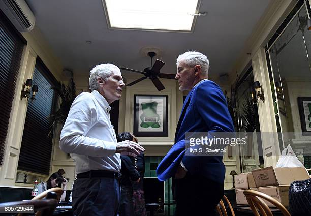 Glenn O'Brien and Baz Luhrmann pose during Tea At The Beatrice Inn With Glenn O'Brien Featuring Baz Luhrmann on September 14 2016 in New York City