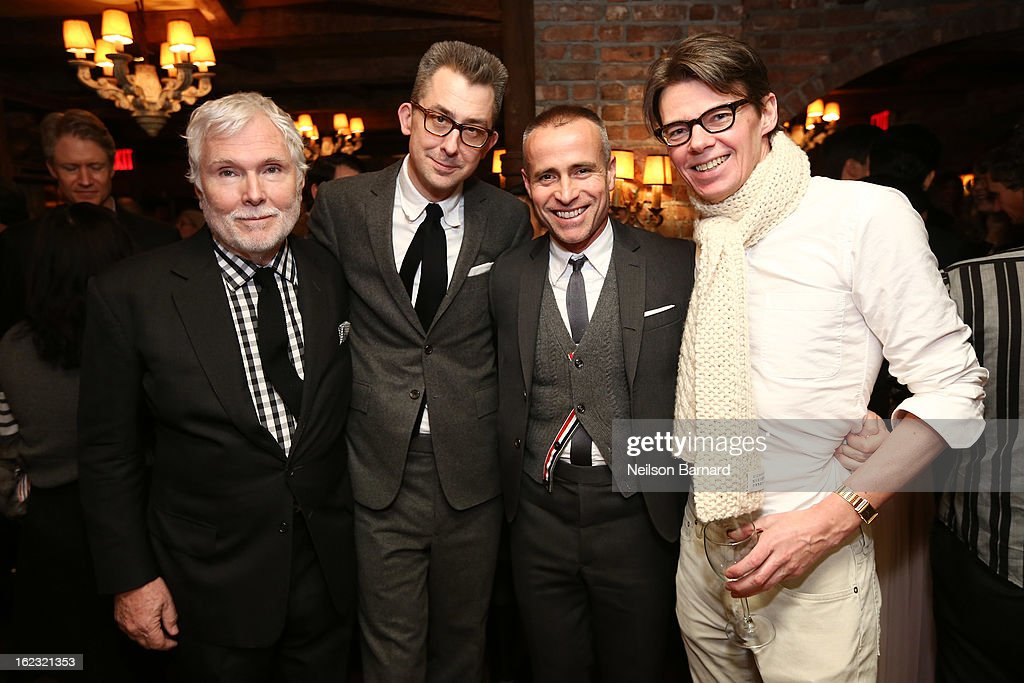 Glenn O'Brien, GQ Deputy Editor/author Michael Hainey, designer <a gi-track='captionPersonalityLinkClicked' href=/galleries/search?phrase=Thom+Browne+-+Estilista&family=editorial&specificpeople=591994 ng-click='$event.stopPropagation()'>Thom Browne</a> and <a gi-track='captionPersonalityLinkClicked' href=/galleries/search?phrase=Andrew+Bolton+-+Curador&family=editorial&specificpeople=14577368 ng-click='$event.stopPropagation()'>Andrew Bolton</a> attend the GQ 'After Visiting Friends' book party on February 21, 2013 in New York City.