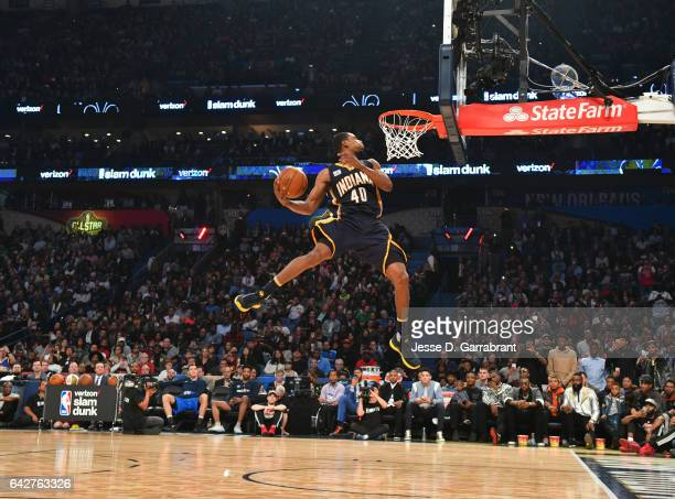 Glenn Robinson III of the Indiana Pacers attempts a dunk during the Verizon Slam Dunk Contest as part of 2017 AllStar Weekend at the Smoothie King...