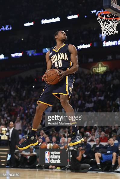 Glenn Robinson III of the Indiana Pacers competes in the 2017 Verizon Slam Dunk Contest at Smoothie King Center on February 18 2017 in New Orleans...