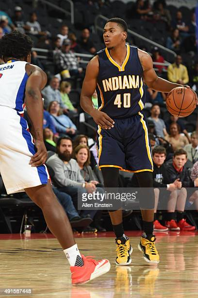 Glenn Robinson III of the Indiana Pacers defends the ball against the Detroit Pistons during a preseason game on October 6 2015 at Palace of Auburn...