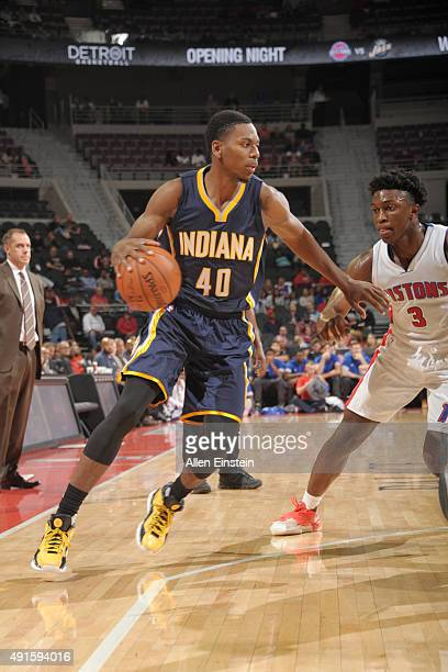 Glenn Robinson III of the Indiana Pacers drives to the basket against the Detroit Pistons during the preseason game on October 6 2015 at The Palace...