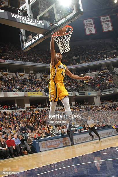 Glenn Robinson III of the Indiana Pacers dunks against the Los Angeles Lakers on February 8 2016 at Bankers Life Fieldhouse in Indianapolis Indiana...