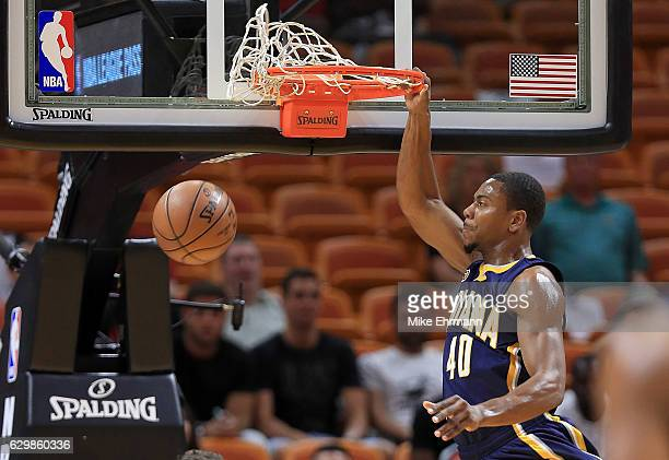 Glenn Robinson III of the Indiana Pacers dunks during a game against the Miami Heat at American Airlines Arena on December 14 2016 in Miami Florida...