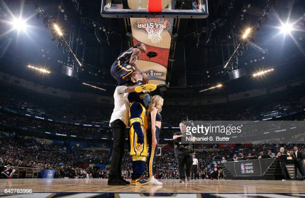 Glenn Robinson III of the Indiana Pacers dunks during the Verizon Slam Dunk Contest during State Farm AllStar Saturday Night as part of the 2017 NBA...