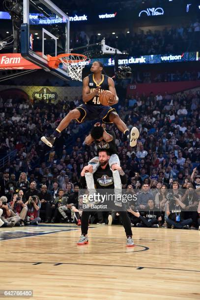 Glenn Robinson III of the Indiana Pacers dunks during the Verizon Slam Dunk Contest on State Farm AllStar Saturday Night as part of the 2017 NBA...
