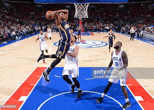 Glenn Robinson III of the Indiana Pacers dunks the ball against the Philadelphia 76ers at Wells Fargo Center on November 18 2015 in Philadelphia...