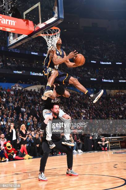 Glenn Robinson III of the Indiana Pacers dunks the ball during the Verizon Slam Dunk Contest during State Farm AllStar Saturday Night as part of the...
