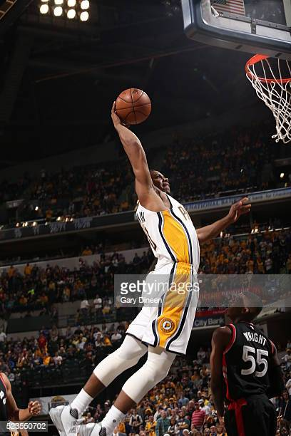 Glenn Robinson III of the Indiana Pacers goes for the dunk against the Toronto Raptors during Game Three of the Eastern Conference Quarterfinals...