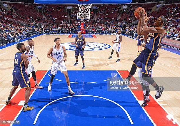 Glenn Robinson III of the Indiana Pacers goes up for the layup against the Philadelphia 76ers at Wells Fargo Center on November 18 2015 in...