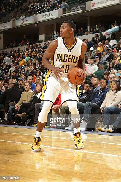 Glenn Robinson III of the Indiana Pacers handles the ball against the New Orleans Pelicans during a preseason game on October 3 2015 at Bankers Life...