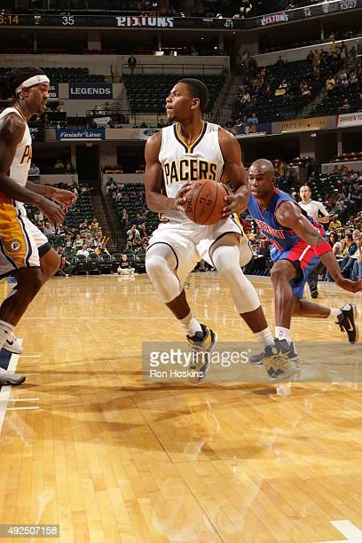 Glenn Robinson III of the Indiana Pacers handles the ball against the Detroit Pistons during a preseason game on October 13 2015 at Bankers Life...
