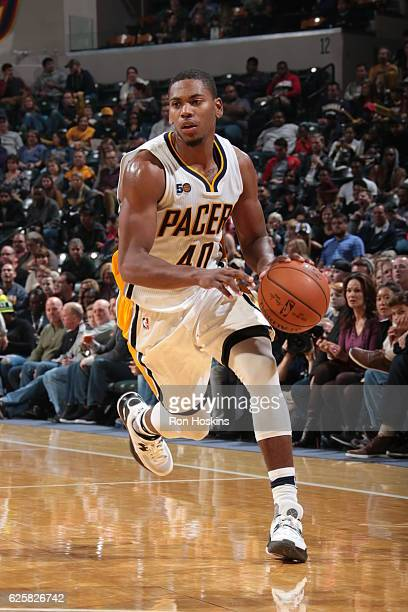 Glenn Robinson III of the Indiana Pacers handles the ball against the Brooklyn Nets on November 25 2016 at Bankers Life Fieldhouse in Indianapolis...