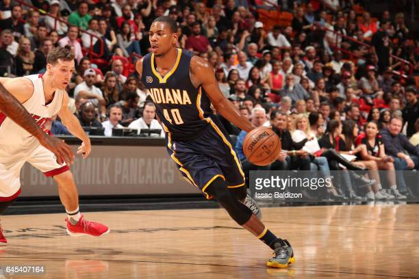 Glenn Robinson III of the Indiana Pacers handles the ball during a game against the Miami Heat on February 25 2017 at American Airlines Arena in...