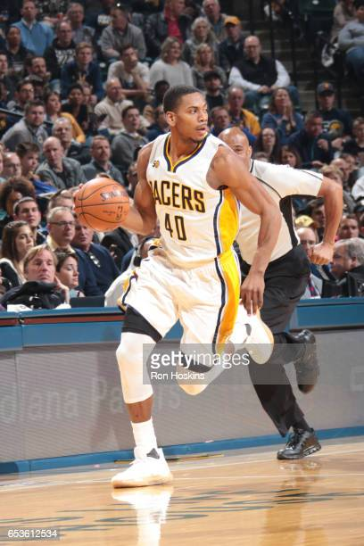 Glenn Robinson III of the Indiana Pacers handles the ball during a game against the Charlotte Hornets on March 15 2017 at Bankers Life Fieldhouse in...