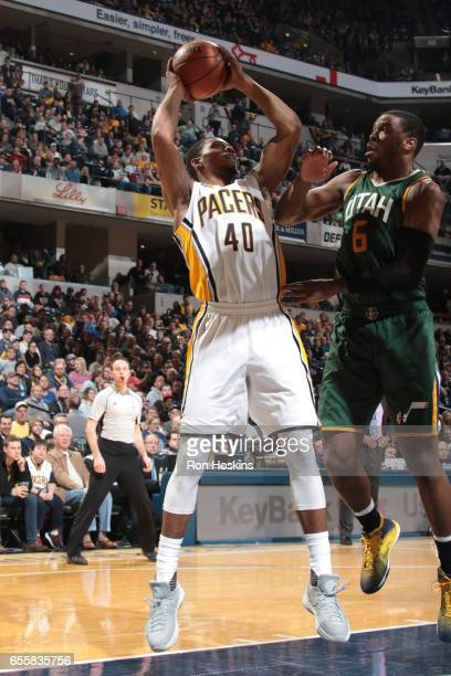 Glenn Robinson III of the Indiana Pacers looks to pass against the Utah Jazz on March 20 2017 at Bankers Life Fieldhouse in Indianapolis Indiana NOTE...