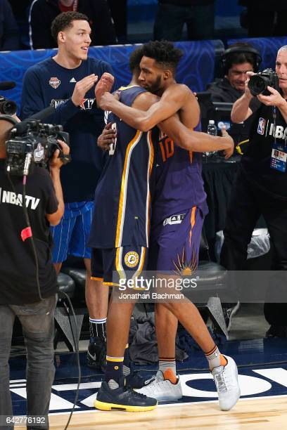 Glenn Robinson III of the Indiana Pacers reacts with Derrick Jones Jr #10 of the Phoenix Suns during the 2017 Verizon Slam Dunk Contest at Smoothie...