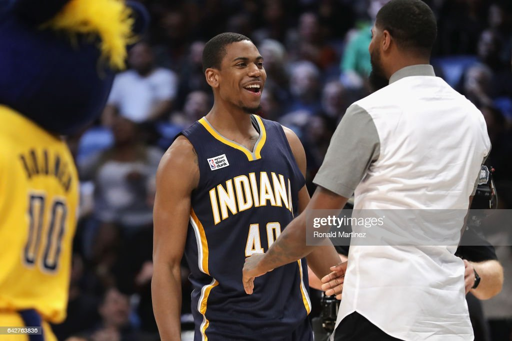 Glenn Robinson III #40 of the Indiana Pacers reacts with Paul George #13 of the Indiana Pacers during the 2017 Verizon Slam Dunk Contest at Smoothie King Center on February 18, 2017 in New Orleans, Louisiana.