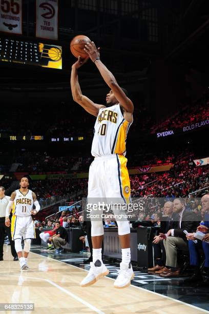 Glenn Robinson III of the Indiana Pacers shoots the ball against the Atlanta Hawks on March 5 2017 at Philips Arena in Atlanta Georgia NOTE TO USER...
