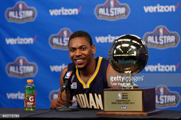 Glenn Robinson III of the Indiana Pacers talks to the media at a press conference during State Farm AllStar Saturday Night as part of the 2017 NBA...