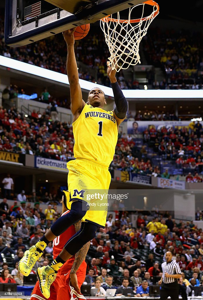 Glenn Robinson III #1 of the Michigan Wolverines lays up a shot during the first half of the Big Ten Basketball Tournament Semifinal game against the Ohio State Buckeyes at Bankers Life Fieldhouse on March 15, 2014 in Indianapolis, Indiana.