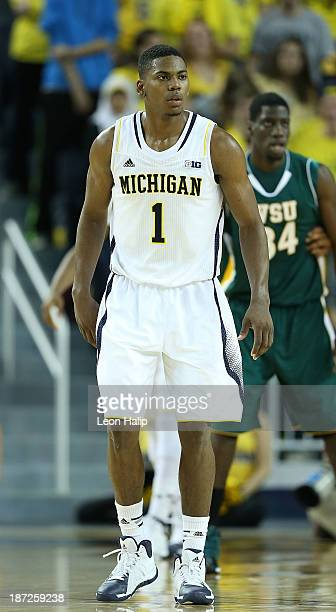 Glenn Robinson III of the Michigan Wolverines looks on during the second half of the game against Wayne State University at Crisler Center on...