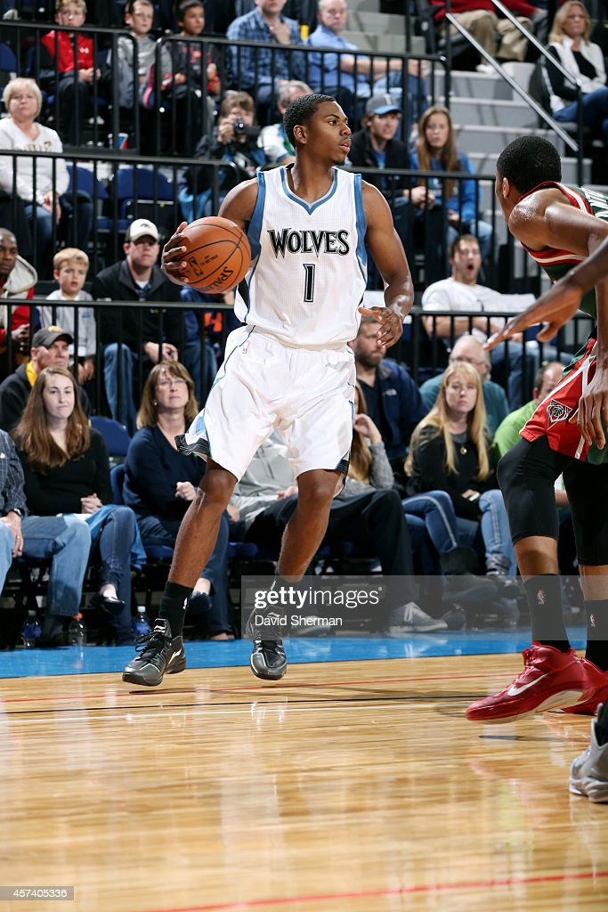 <a gi-track='captionPersonalityLinkClicked' href=/galleries/search?phrase=Glenn+Robinson+III&family=editorial&specificpeople=9920511 ng-click='$event.stopPropagation()'>Glenn Robinson III</a> #1 of the Minnesota Timberwolves drives against the Milwaukee Bucks on October 17, 2014 at U.S. Cellular Center in Cedar Rapids, Iowa.