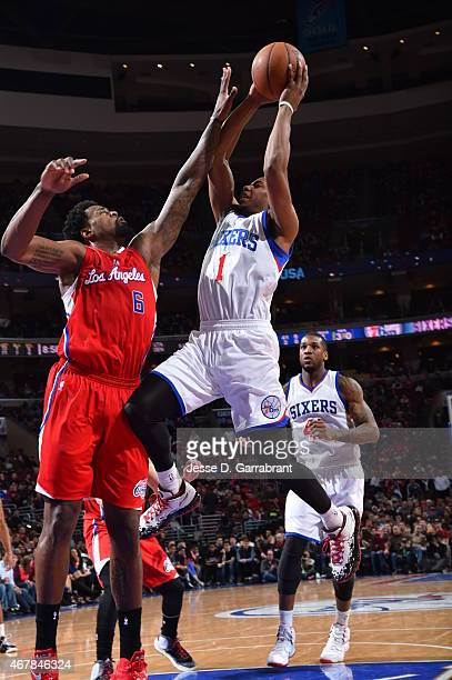 Glenn Robinson III of the Philadelphia 76ers goes up for the layup against the Los Angeles Clippers at Wells Fargo Center on March 27 2015 in...