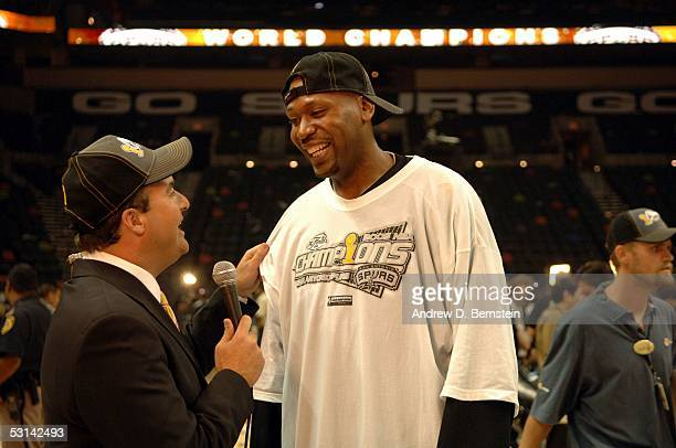 Glenn Robinson of the San Antonio Spurs gets interviewed after winning Game seven of the 2005 NBA Finals 8174 against the Detroit Pistons on June 23...