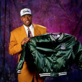 Glenn Robinson poses for the camera after being selected number one overall by the Milwaukee Bucks at the 1994 NBA Draft held June 29 1994 in...