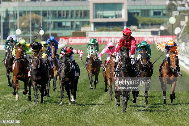 Glenn Schofield rides Prized Icon to win race 7 the AAMI Victoria Derby on Derby Day at Flemington Racecourse on October 29 2016 in Melbourne...