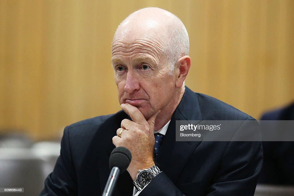 Glenn Stevens, governor of the Reserve Bank of Australia, attends a hearing before the House of Representatives economics committee in Sydney, Australia, on Friday, Feb. 12, 2016. Australia has the flexibility to ease monetary policy further if that will aid the economy, Stevens said Friday as he gauges the sustainability of recent jobs strength against the potential impact of global market upheaval on demand. Photographer: Brendon Thorne/Bloomberg via Getty Images