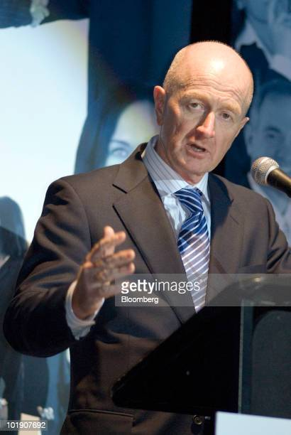 Glenn Stevens governor of the Reserve Bank of Australia delivers an address at the Western Sydney Business Connection luncheon in Sydney Australia on...