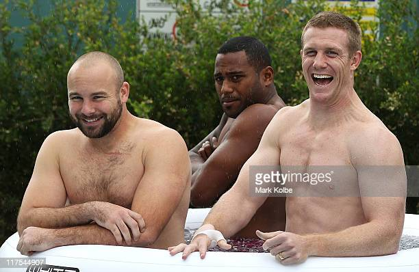 Glenn Stewart Akuila Uate and Ben Creagh share a laugh during a New South Wales Blues training session at Coogee Oval on June 28 2011 in Sydney...