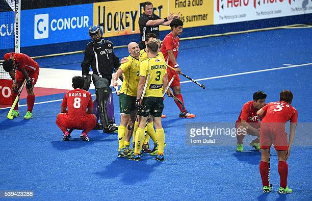 Glenn Turner of Australia celebrates his goal during day two of the FIH Men's Hero Hockey Champions Trophy 2016 match between Australia and Korea at...