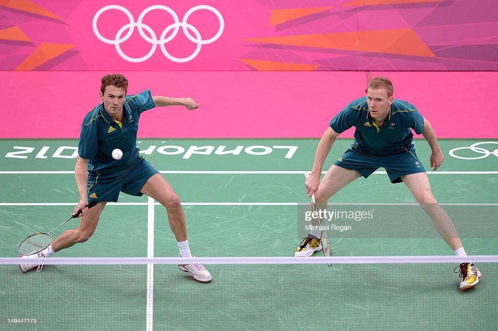 Glenn Warfe (L) and Ross Smith (R) of Australia return a shot against Haifeng Fu and Yun Cai of China during their Men's Doubles Badminton on Day 1 of the London 2012 Olympic Games at Wembley Arena on July 28, 2012 in London, England.