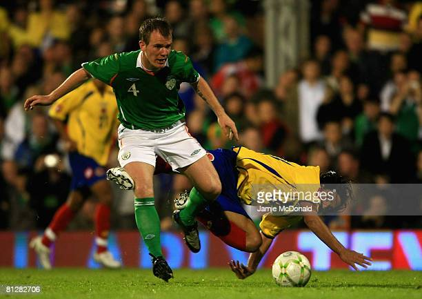 Glenn Whelan of Ireland battles with Falcao Garcia of Columbia during the International Friendly match between Ireland and Colombia at Craven Cottage...