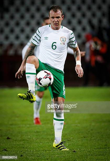 Glenn Whelan of Ireland in action during the FIFA 2018 World Cup Qualifier between Serbia and Ireland at stadium Rajko Mitic on September 5 2016 in...
