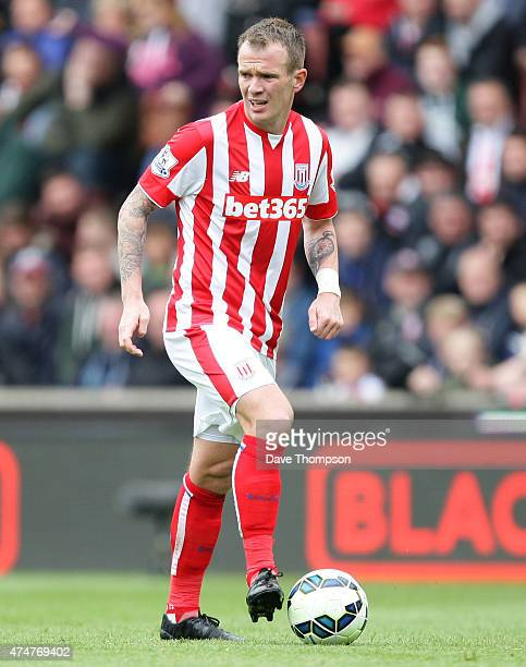 Glenn Whelan of Stoke City during the Barclays Premier League match between Stoke City and Liverpool at the Britannia Stadium on May 24 2015 in...