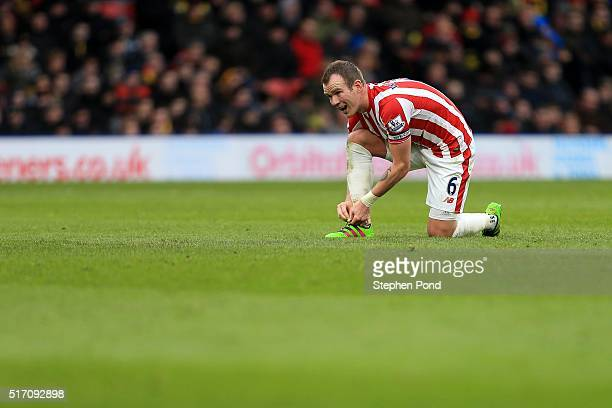 Glenn Whelan of Stoke City during the Barclays Premier League match between Watford and Stoke City at Vicarage Road on March 19 2016 in Watford...